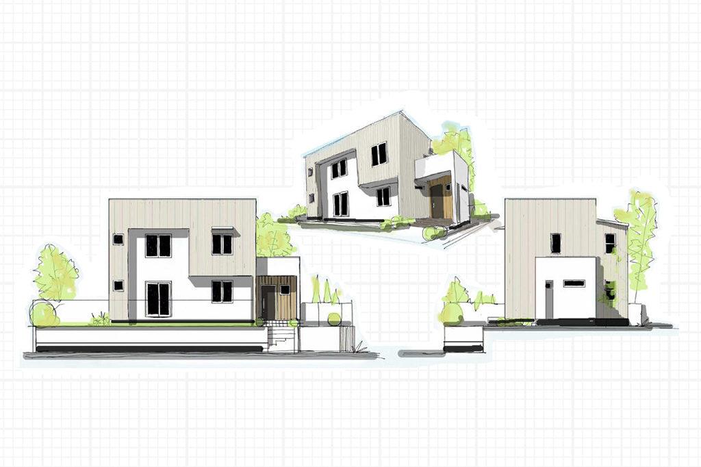 戸建/新築/神奈川県綾瀬市/シンプルな外観と明るく広がりのある気持ちの良い内観。ネイビーがアクセントカラーのシンプルモダンな住まい